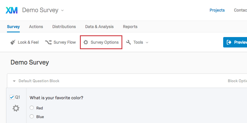 Survey Options button in upper-left of survey tab