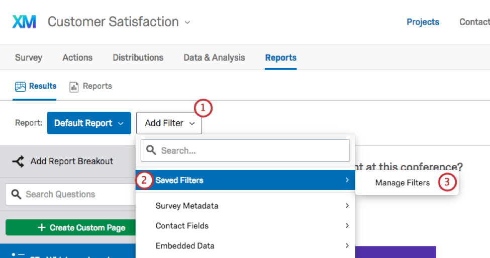 add filter button allows you to select from a saved filter