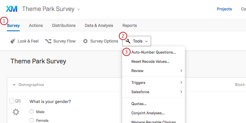 Tools button on the Survey tab reveals an Auto-Number Questions option