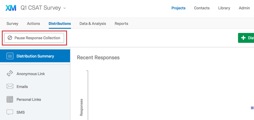 Pause Response Collection button from Distributions tab within a project