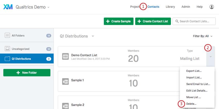 Delete contact list workflow