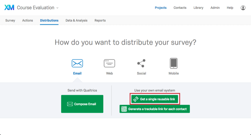 "Distributions tab with four icons and and the button ""Get a single reusable link"" is selected"