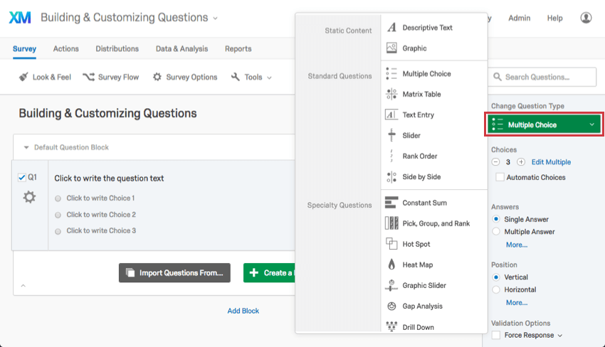On the question editing pane, clicking the green Change Question Type dropdown to open a menu of question types