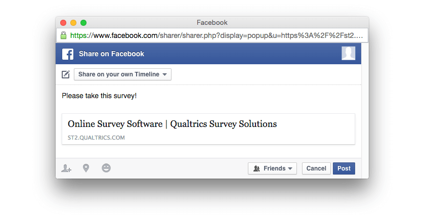 Composed Facebook post with survey included prior to posting