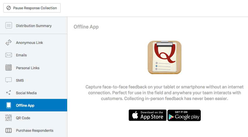 Offline App page selected from the lefthand pane of of the Distributions tab