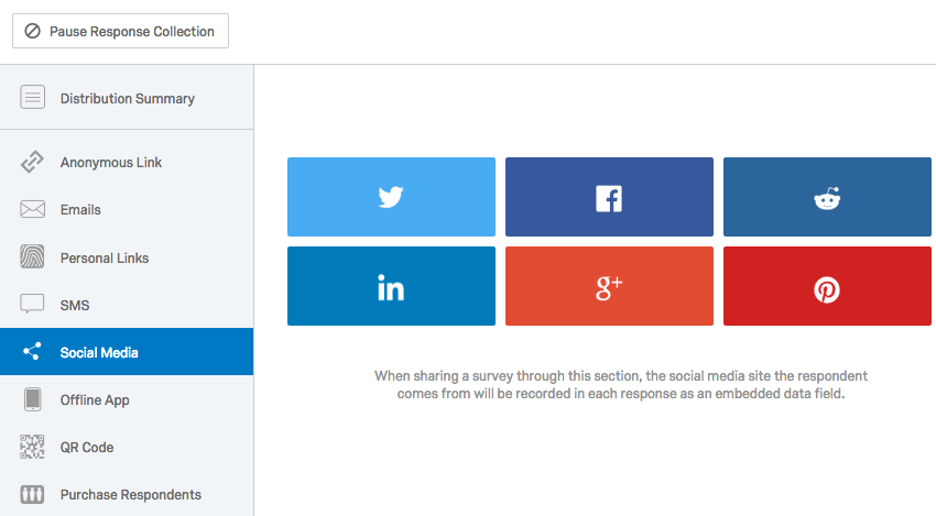 Social Media page selected from the lefthand pane of of the Distributions tab
