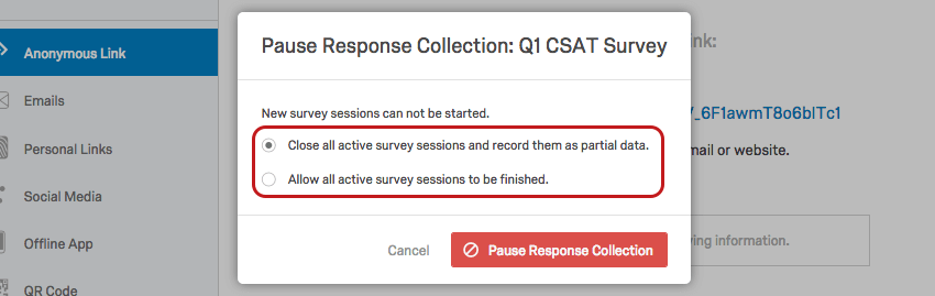 Pause Response Collection menu with radio buttons
