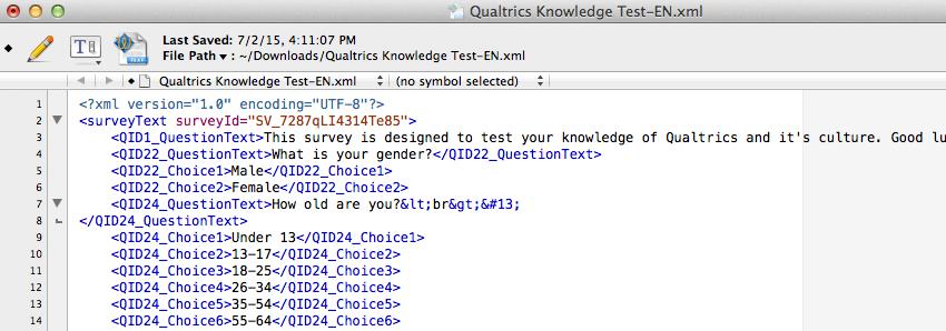 An xml doc of translations