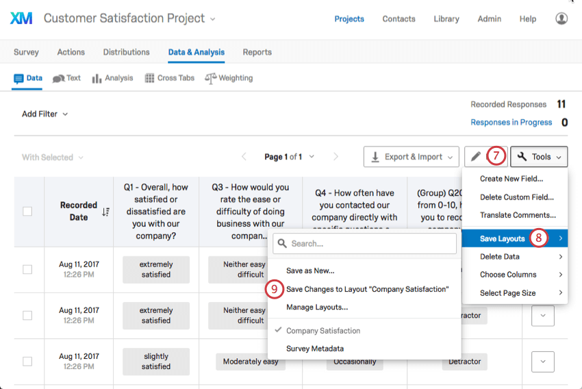 Option to save changes to previously saved layout in Save Layouts dropdown list