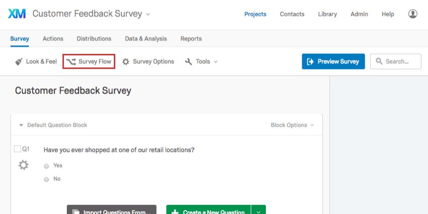 Survey Flow option within Survey tab