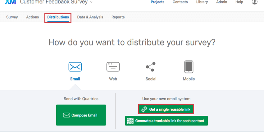 Get a Single Reusable Link option in Distributions Tab