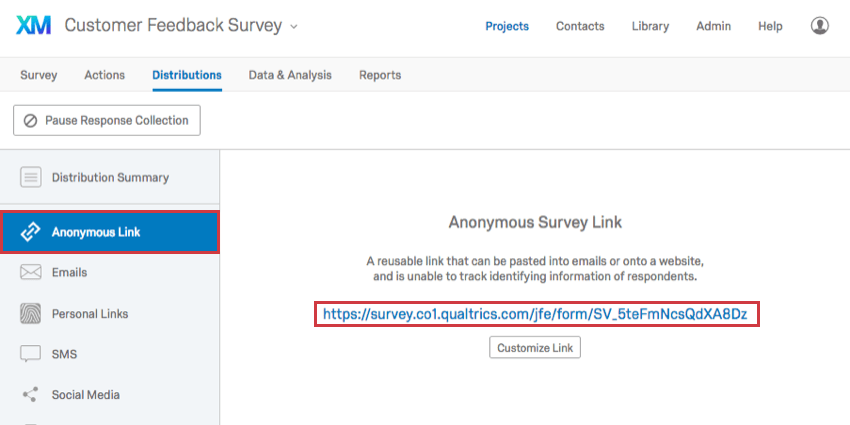 Anonymous Link section with link displayed