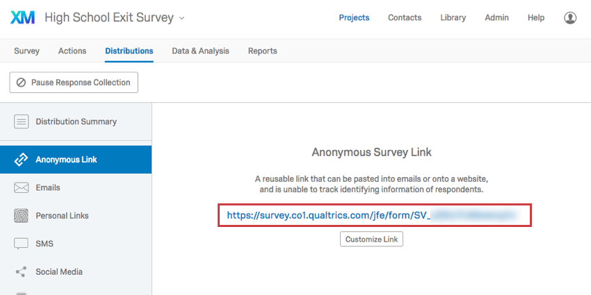 Anonymous Link in center of Anonymous Link section of Distributions tab