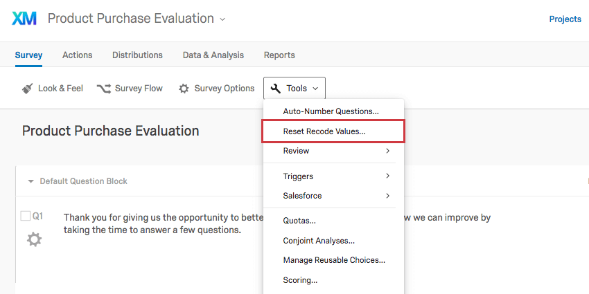 Reset Recode Values option under the Survey tab's Tools