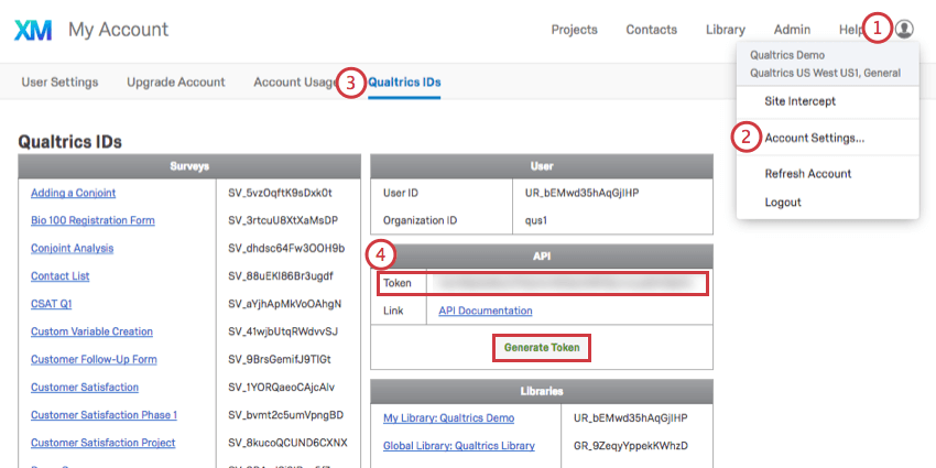API Token found in Qualtrics IDs tab of the Account Settings page