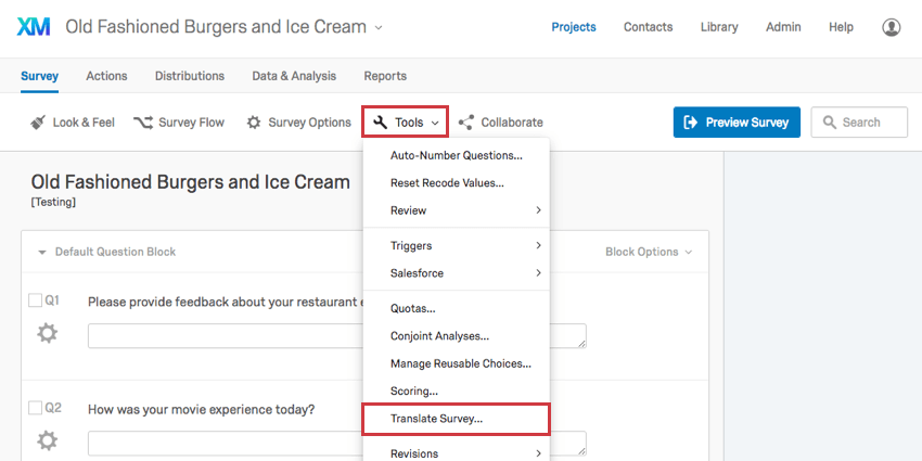 Translate Survey option in the Tools menu