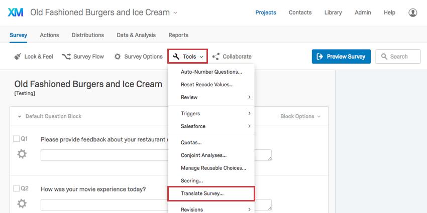Translate Survey Qualtrics Support