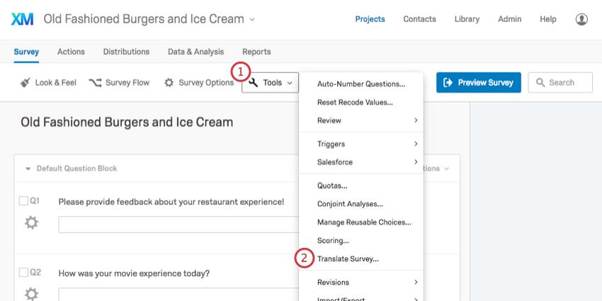 Navigating to Translate Survey under the Tools menu