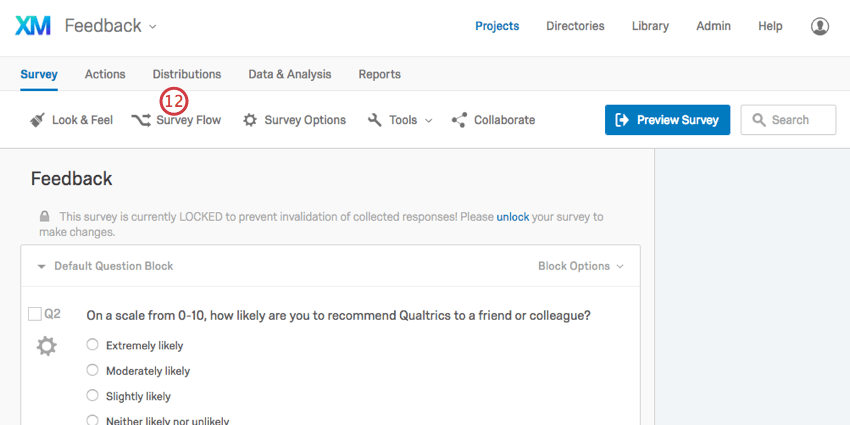 Survey Flow in toolbar at top of the Feedback survey