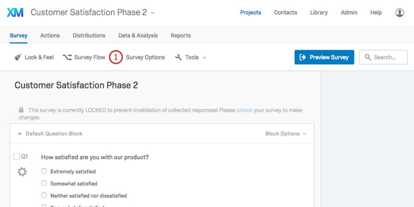 Survey Options button