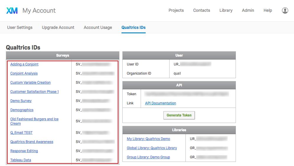 List of Survey IDs