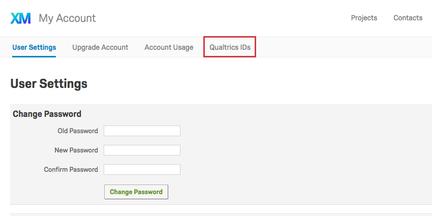 Qualtrics IDs button in Account Settings