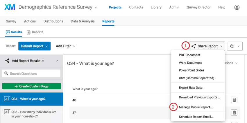 manage public report option in share report menu