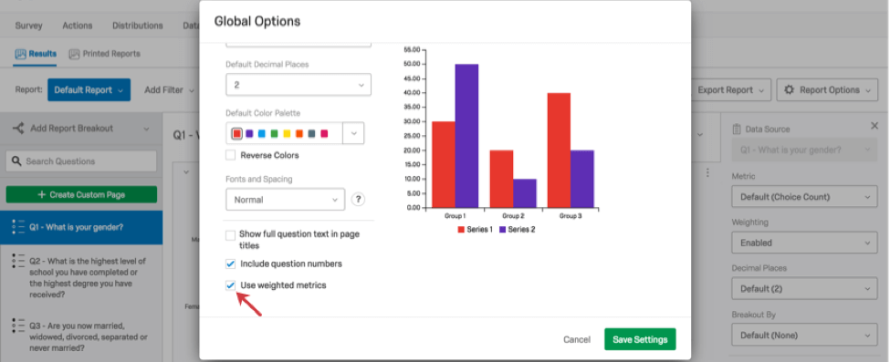 Option to use weighted metrics in Global Options of a Report visualization