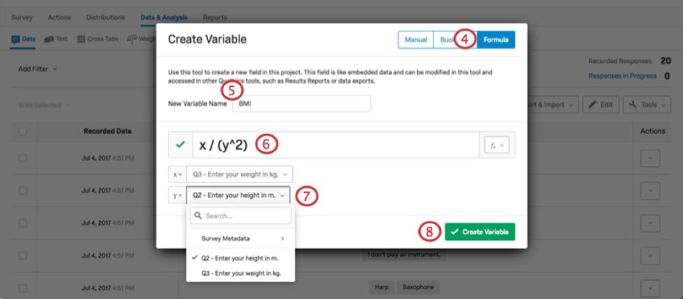 New Variable Name text box, Equation text box, and variable selectors