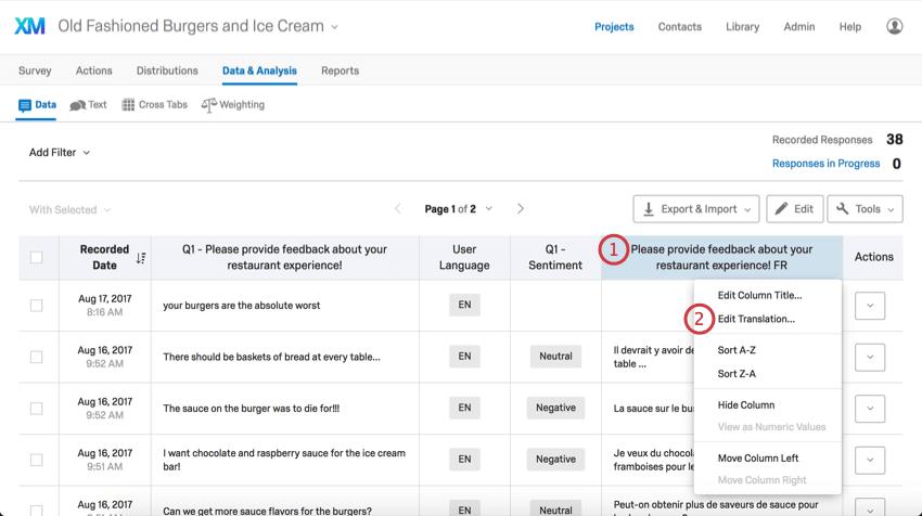Clicking on a data column's header reveals additional menus