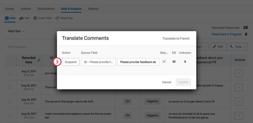 Translate Comments window