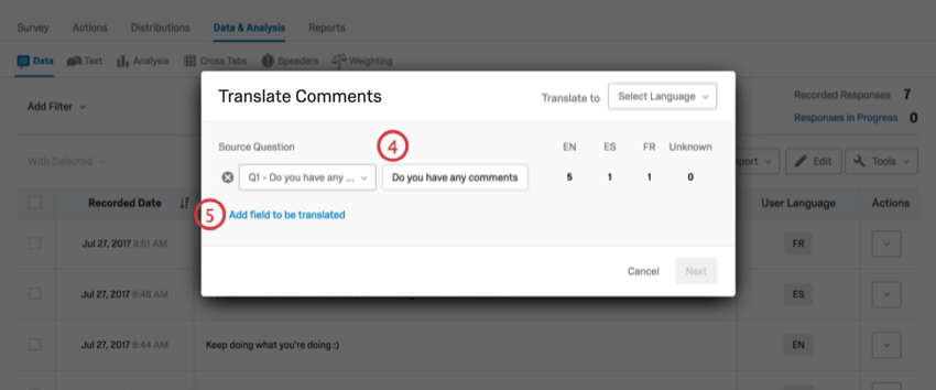 Translate comments window with fields filled out