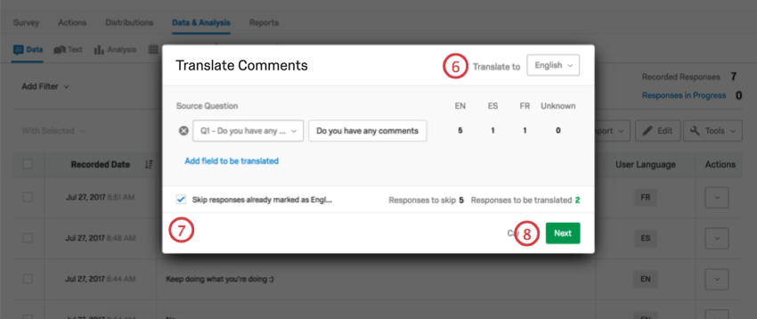 Translate To option on upper-right of the Translate Comments window