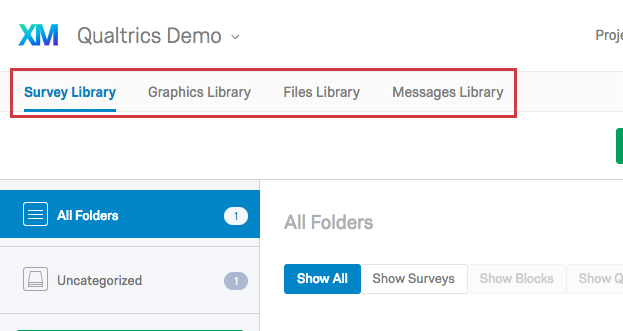 Survey, Graphics, Files, and Messages library tabs in the Library page