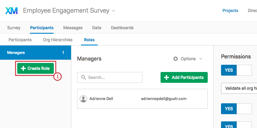 Create Role button on Roles section of Participants tab