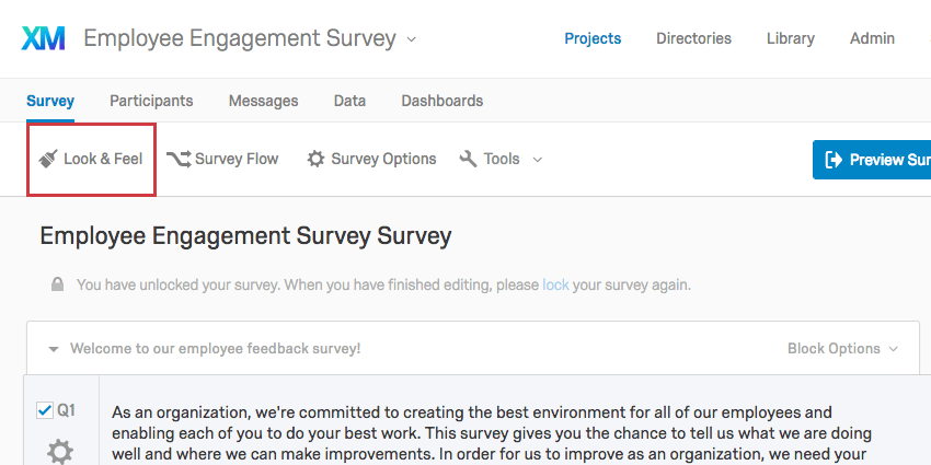 The Look and Feel button highlighted right below the Survey tab
