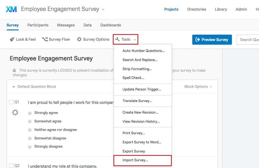 tools dropdown in the Survey tab inidicating Import Survey