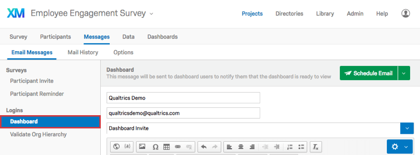 Dashboard selected to the left on the Email Messages page