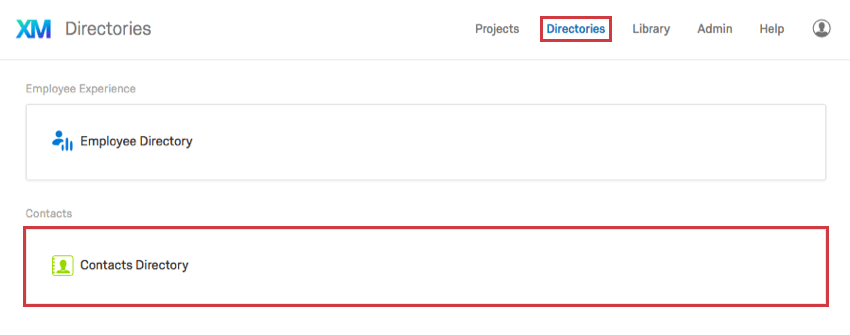 Contacts Directory section in the Directories page