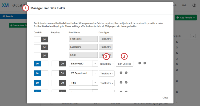 Using the Select Box option in the Manage User Data fields window