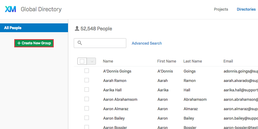 Selecting the Create New Group button in the sidebar on the left of the Employee Directory