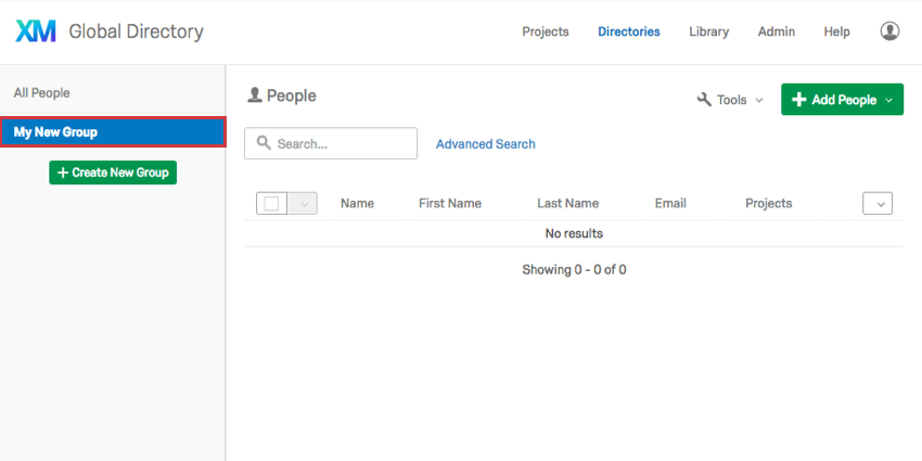 New groups displayed in the left sidebar of the Employee Directory