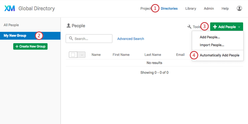 Selecting the Automatically Add People button from under the Add People dropdown menu