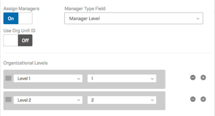 In the Organization Levels fields, Level 1 is set equal to 1, and Level 2 is set equal to 2