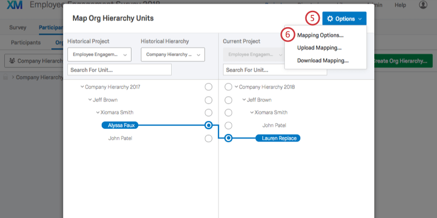 selecting options in the hierarchy mapper and selecting mapping options