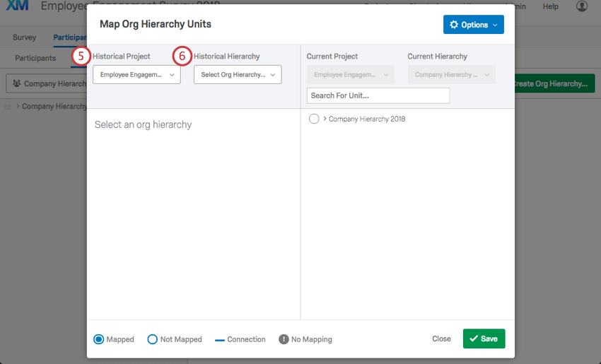 in the map org hierarchy units window, the historical project and historical hierarchy fields are indicated on the left