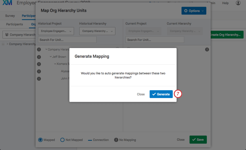 Pop up window reading: Would you like to auto generate mapping between these two hierarchies?