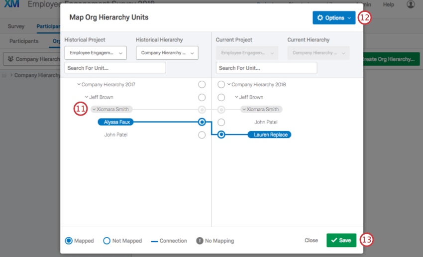 Hovering over a hierarchy member in the mapper to reveal a gray line connecting them to someone in the other hierarchy