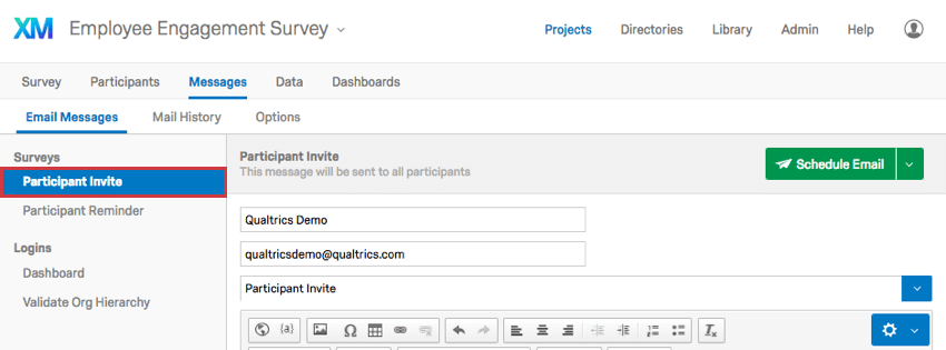 Participant Invite selected to the left on the Email Messages page