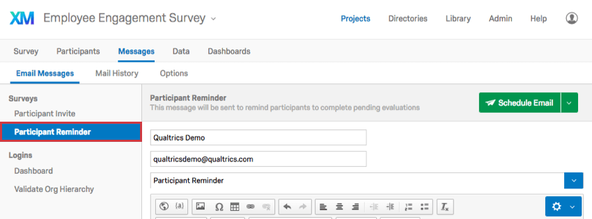 Participant Reminder selected to the left on the Email Messages page